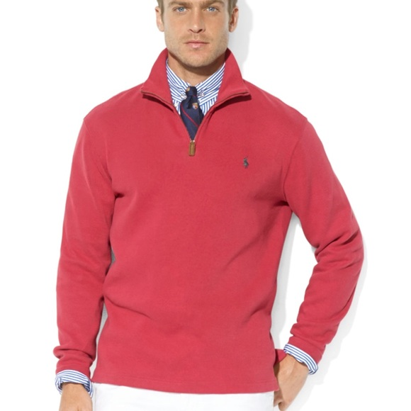 Polo by Ralph Lauren Red Half Zip Pullover Sweater